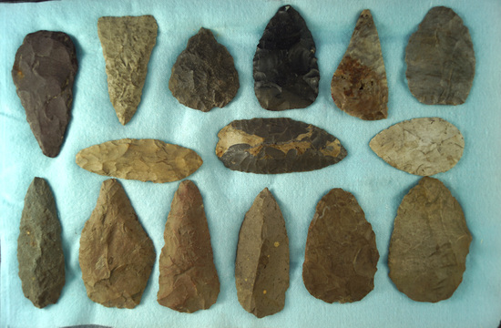 "Set of 15 flint Knives And Blades found in Michigan, largest is 3"". Ex. Phil Waigel collection."
