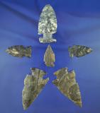 Group of six nice Ohio arrowheads, largest is 2 7/8