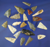 Set of 20 assorted arrowheads found in Kentucky, most are triangles. Largest is 1 5/16
