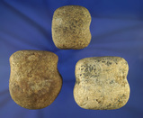 Set of three nice grooved Hammerstones found in Ohio, largest is 2 5/8