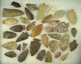 Large group of approximately 35 assorted Midwestern Flint points Ed nice. Largest is 3 5/8