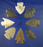 Set of eighths assorted Midwestern arrowheads in good condition, largest is 2 3/8