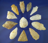 Set of 12 assorted Quartz artifacts found in Gloucester, Salem and Cumberland counties, NJ.