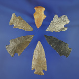 Set of six assorted Midwestern arrowheads and nice condition, largest is 1 7/8