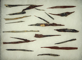 Set of approximately 20 pre-Columbian obsidian flaked needles found in Mexico.largest is 3 3/8