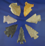 Group of seven assorted Midwestern arrowheads, largest is 2 3/16