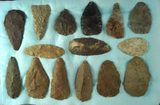 Set of 15 flint Knives And Blades found in Michigan, largest is 3