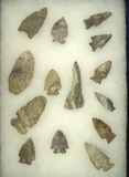 Group of 14 assorted arrowheads made from Indiana Green Flint found in Indiana.