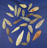 Nice set of 25 serrated African Neolithic points found in the northern Sahara desert region.