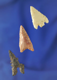 Set of three nice Midwestern arrowheads including a very unique Toyah that is 1