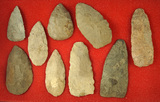 Set of nine Flint Blades, largest is 4 5/16