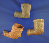 Set of three clay trade pipes, two in very nice condition, one was overheated in the kiln.
