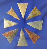 Set of eight nicely made Triangle points found in Kentucky, largest is 1 3/16