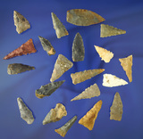 Set of 20 assorted Kentucky arrowheads, largest is 1 11/16