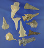 """Set of 10 assorted Drills and Perforators found in Alabama in Tennessee, largest is 1 9/16""""."""