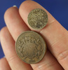 1866 Two Cent Piece VG+ and 1858 Three Cent Silver G
