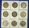 9 40% Silver Kennedy Half Dollars XF-AU