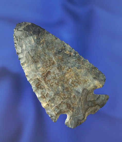 """2 7/8"""" heavily patinated Notched Base Dovetail found in Licking Co.,  Ohio.  Weidner collection."""