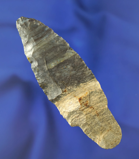"""3 3/4"""" Adena made from bi-colored Coshocton Flint found in Erie Co.,  Ohio. Ex. Weidner."""