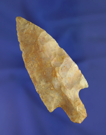 """3 5/16"""" Adena that is nicely made from Boyles chert found in Ohio. Ex. Randy Hancock collection."""