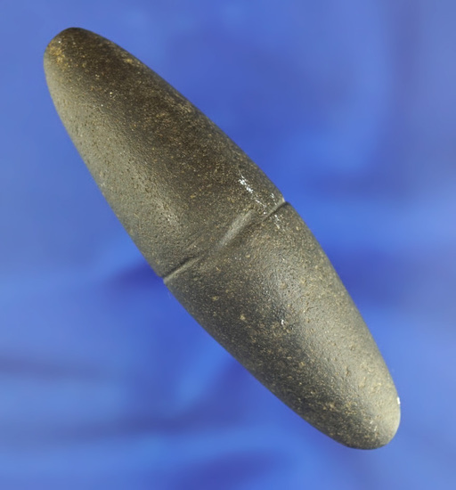 """3 1/2"""" center grooved Boatstone/Atlatl weight found in Lee Co.,  Iowa. Ex. Mac Costello collection."""