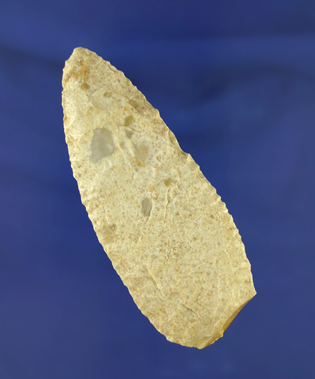 "3 5/8"" Flint Knife found in Colorado with nice secondary edge work & serrations on the blade edges."