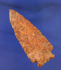 "3 1/8"" Archaic Cornernotch  found in Mississippi made from a nicely mottled pink and red Flint."