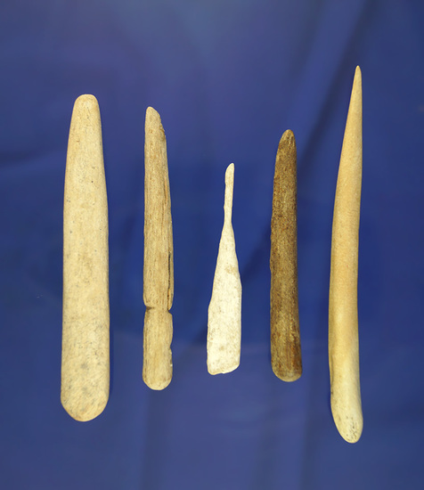 Nice set of five bone awls and tools found near the Missouri River in South Dakota.