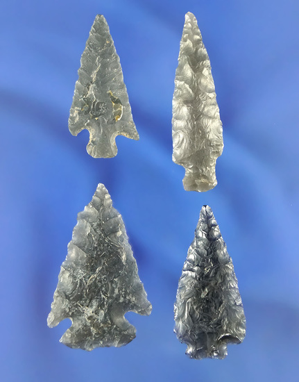 Set of four well styled obsidian arrowheads and nice condition found in Oregon near the Columbia.