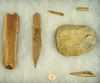 Group of assorted artifacts found near and Arikara village site near Fort Sully, South Dakota.