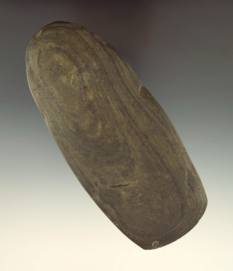 """5 3/16"""" green banded slate Celt that is thin and nicely styled with a good bit  found in Michigan."""