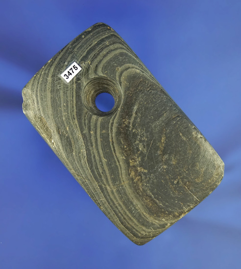 """Very heavily patinated 3"""" Rectangular Pendant made from green banded slate - Darke Co.,  Ohio."""