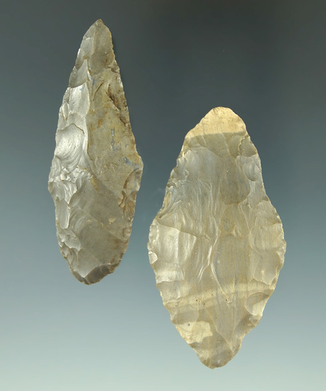 """Pair of Adena point found in Indiana. Largest is 2 1/4""""."""