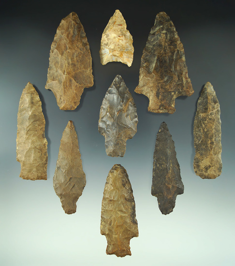 Group of nine assorted Tennessee area artifacts. Most are very heavily River patinated.