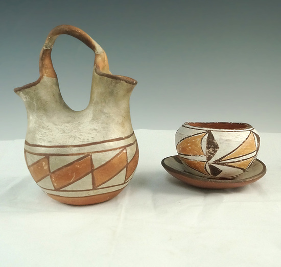 """Set of three pottery items including a 6"""" tall dual spout strap handle water bottle & more!"""