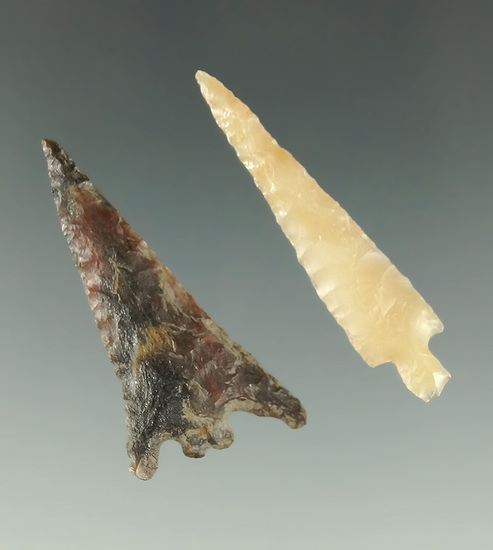 """Pair of Columbia River arrowheads including a 1 7/16"""" Columbia Plateau and a Rose Springs."""