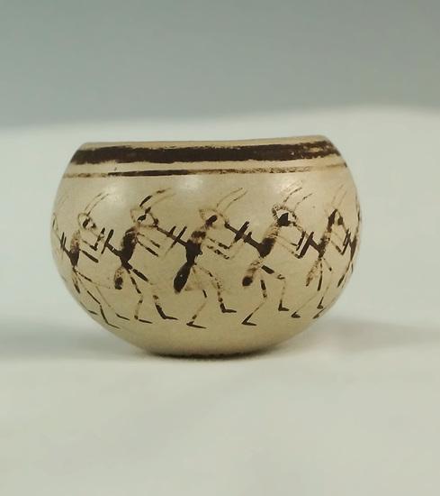 "Very unique Hopi Nampeyo miniature! 1 9/16"" wide miniature pottery vessel."