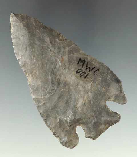 """3 1/8"""" Basal Notch made from Coshocton Flint found in Holmes Co., Ohio."""