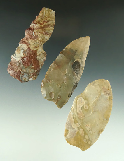 """Set of three Flint blades found in Ohio, largest is 3 1/2"""". Ex. John Anspaugh collection."""