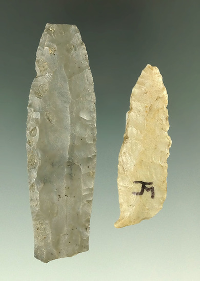 Pair of Paleo Cumberlands that have some damage found in  Ross and Delaware Co., Ohio.
