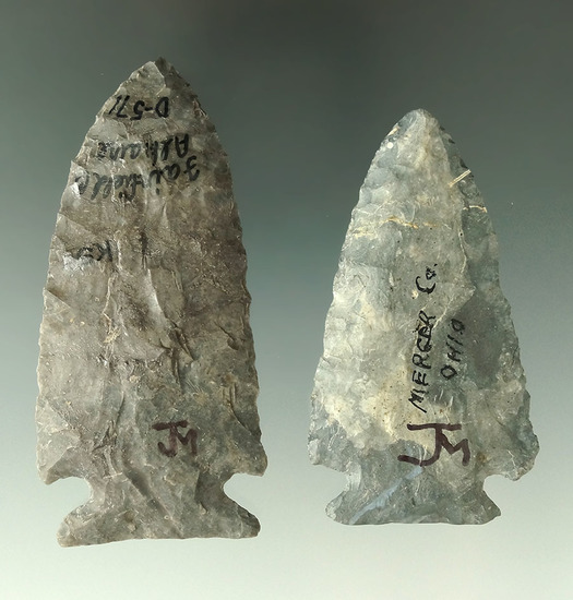 Pair of nicely styled Coshocton Flint Cornernotch points found in Fairfield and Mercer Co., Ohio.