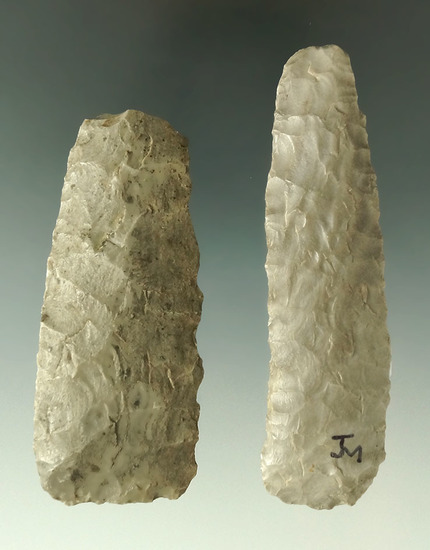 """Pair of Paleo Knives found in Ohio, largest is 3 9/16""""."""