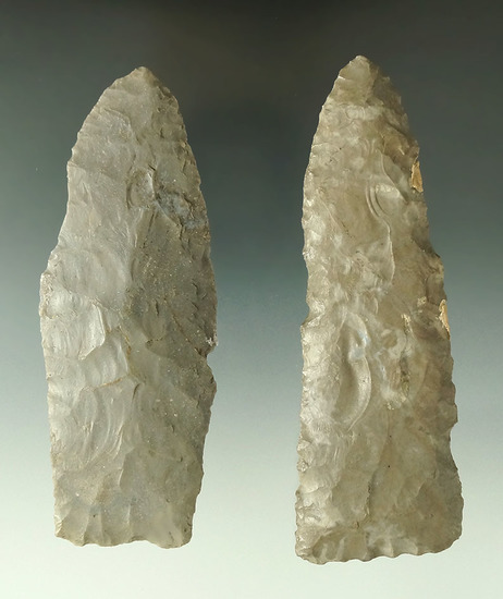 """pair of large Flint Blades found in Ohio, the largest is 4 13/16"""" and has several spots of restorati"""