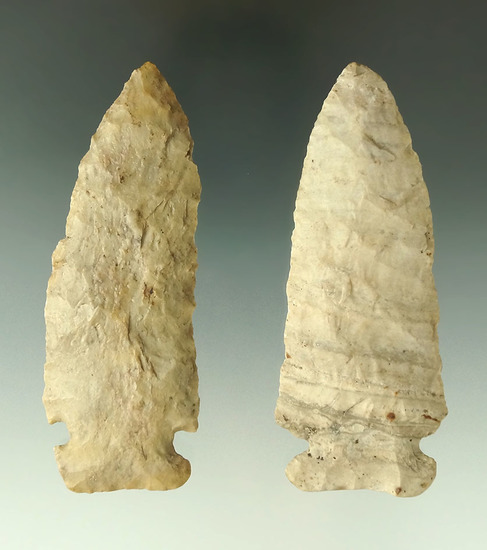 """Pair Archaic Knives found in Ohio, largest is 3 9/16""""."""