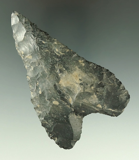 """Very unique 3 15/16"""" Coshocton Flint Basal Notch Knife found in Marion Co., Ohio."""