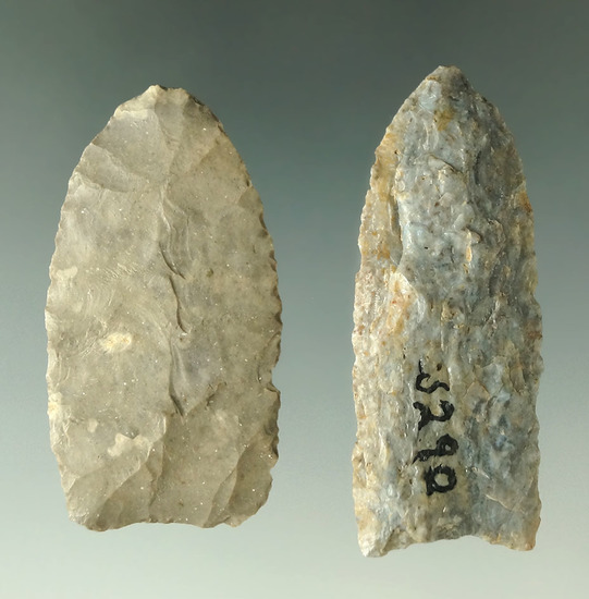 """Pair of Paleo points found in Ohio, largest is 2 3/16""""."""