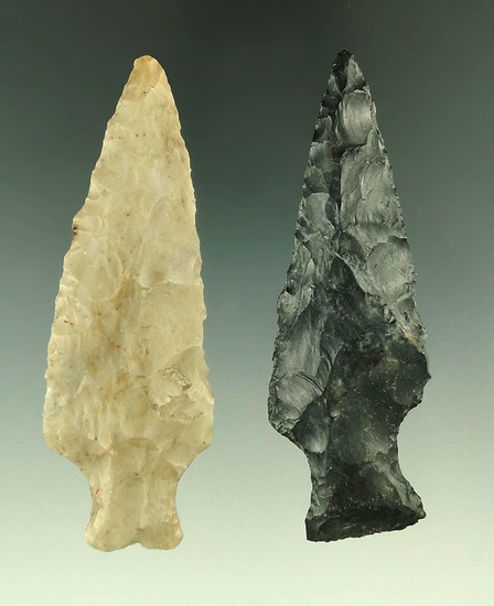 """Pair of Ashtabula points found in Ohio, largest is 3 3/8""""."""