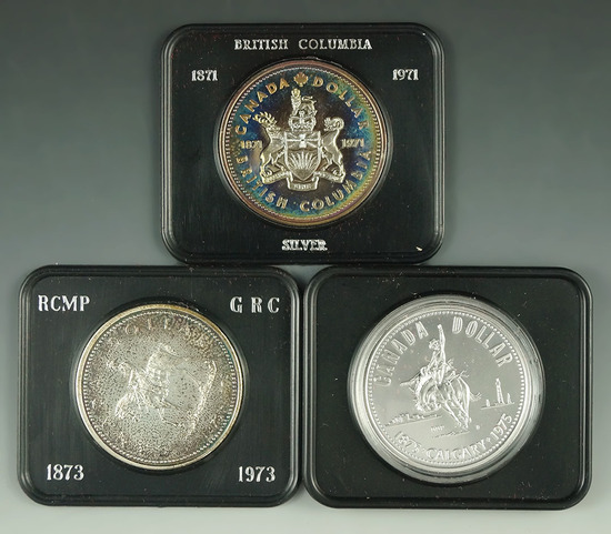 1971, 1973 and 1975 Canadian 50% Silver Commemorative Dollars in Original Holders