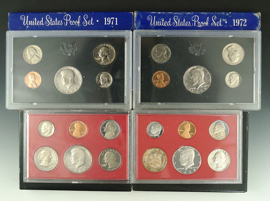 1971, 1972, 1980 and 1982 Proof Sets in Original Boxes
