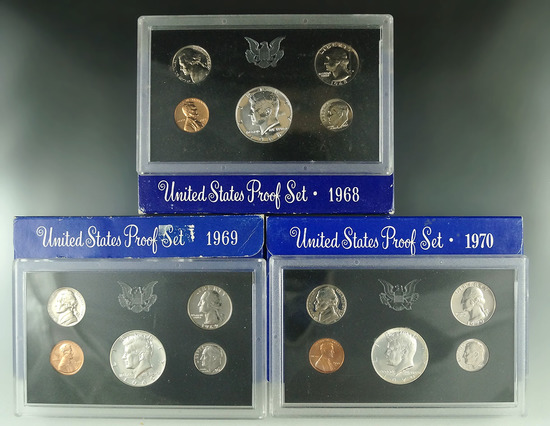 1968, 1969 and 1970 Proof Sets in Original Boxes